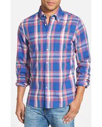 Gant Rugger Hugger Fit Plaid Oxford Shirt - Lyst