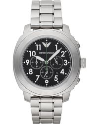 Emporio Armani Round Stainless Steel Chronograph Watch silver - Lyst