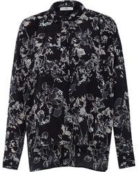 Day Birger Et Mikkelsen Black Cloudy Abstract Floral Print Silk Shirt - Lyst