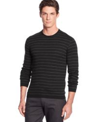 Calvin Klein Merino Wool Simple Striped Crew-neck Sweater - Lyst