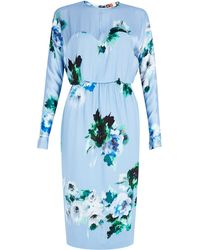 MSGM Floral Long Sleeve Blue Silk Dress - Lyst