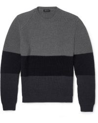 Calvin Klein Striped Chunkyknit Wool Sweater - Lyst