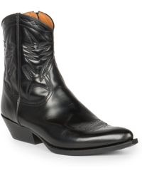 Saint Laurent Santiag Leather Western Ankle Boots - Lyst