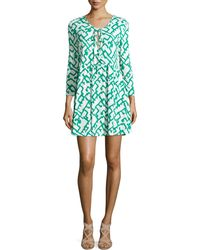 French Connection Tie-Neck Printed A-Line Dress - Lyst