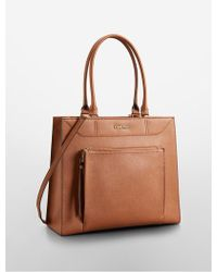 Calvin Klein White Label Saffiano Leather Large Tote Bag - Lyst