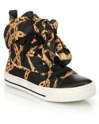 Boutique Moschino Chain-print Lace-up Sneakers - Brown