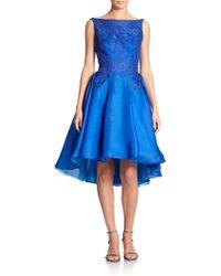ML Monique Lhuillier Silk Organza Boatneck Dress - Lyst