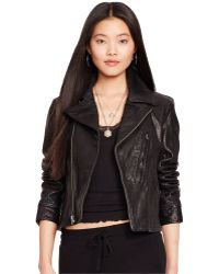 Polo Ralph Lauren Washed Leather Jacket - Black
