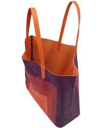 Yarnz - Orange Square Illusion Leather Bag - Lyst