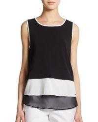Calvin Klein Tiered Sleeveless Colorblock Top - Lyst