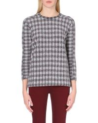 Victoria Beckham Sport Checked-Knit Sweatshirt - Lyst