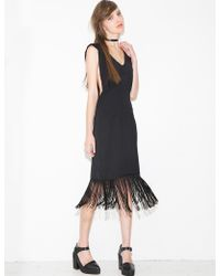 Pixie Market Daria Fringe Lace Up Dress - Lyst