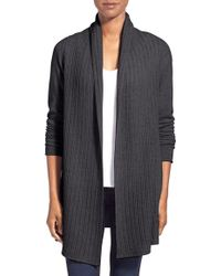 Kinross Cashmere - Cashmere Drop Stitch Open Front Cardigan - Lyst