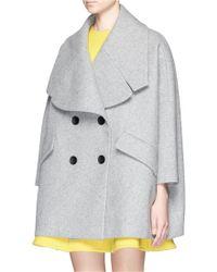 Chictopia - Wide Lapel Oversize Wool Felt Short Coat - Lyst