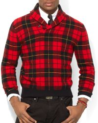 Ralph Lauren Polo Plaid Wool Shawl Pullover - Lyst
