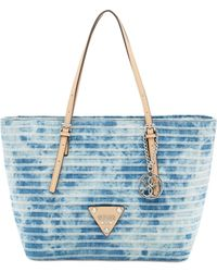 Guess Delaney Small Classic Denim Tote - Lyst