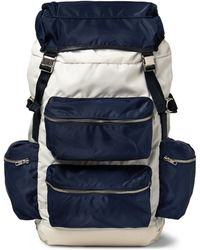 Tim Coppens Leather-Trimmed Canvas Backpack - Blue