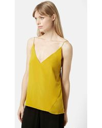 Topshop Silk V-Neck Camisole yellow - Lyst