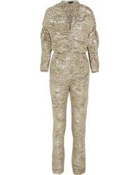 Pedro Del Hierro Madrid Textured Silk-blend Lamé Jumpsuit - Metallic