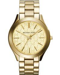 Michael Kors Womens Slim Runway Goldtone Stainless Steel Bracelet Watch 42mm - Lyst