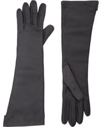 Barneys New York Twotone Long Leather Gloves - Lyst