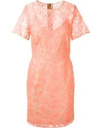 Veronica Beard Pink Neon Flowers Embroidered Nude Organza Dress - Lyst