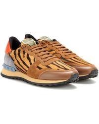 Valentino Rockrunner Suede, Leather And Calf-Hair Sneakers - Lyst