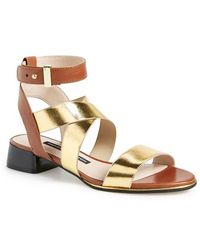 French Connection Women'S 'Corazon' Elastic & Leather Strap Sandal - Lyst