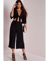 Missguided Slinky Culottes Black