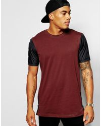 Asos Longline T-shirt with Woven Sleeves and Side Zips - Lyst