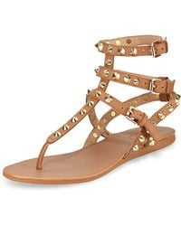 Ash Oasis Studded Ankle-Wrap Flat Thong Sandal - Lyst