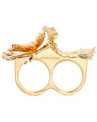 Alexander McQueen Lotus Flower Two Finger Ring gold - Lyst