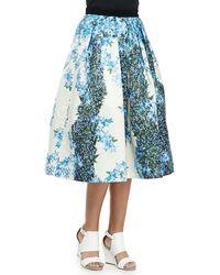 Tibi Sidewalk Full Floral Skirt Sapphire Multu 0 - Lyst