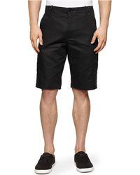Calvin Klein Linen-Blend Cargo Shorts black - Lyst