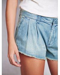 Free People Womens Pleated Denim Shorts - Lyst