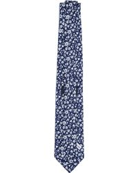 Drake's Floral Silk Tie - Blue