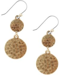 Lucky Brand Goldtone Hammered Drop Earrings - Lyst