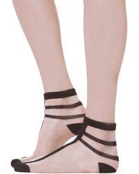AKIRA Sheer Line Ankle Socks in Black