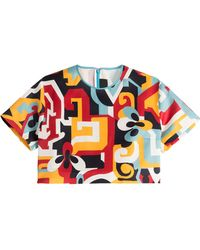 DSquared² Printed Silk Cropped Top - Lyst