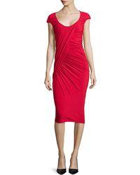 Donna Karan New York Cap-Sleeve Ruched Jersey Dress - Lyst