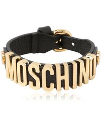 Moschino - Grained Leather Bracelet - Lyst