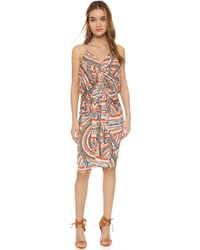T-bags - Knee Length Dress With Knot Detail - Multi - Lyst