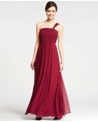 Ann Taylor Silk Georgette One Shoulder Gown - Lyst
