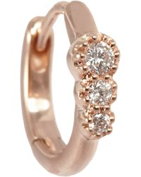 Stone - Diamond & White Gold Creole Mini Hoop Earring - Lyst