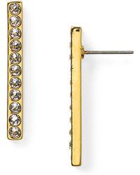 T Tahari - Pave Bar Earrings - Lyst