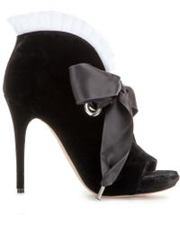 Alexander McQueen Velvet Open-Toe Boots black - Lyst