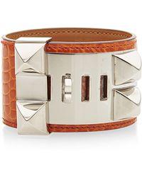 Heritage Auctions Special Collection Hermes Orange H Shiny Alligator Collier De Chien Bracelet - Lyst