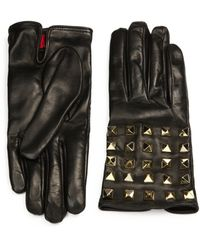 Valentino Allover Studs Leather Gloves - Lyst