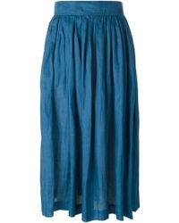 Yves Saint Laurent Vintage High Waist Pleated Skirt blue - Lyst