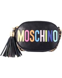 Moschino Black Shoulder Pochette With Multicolor Logo - Lyst